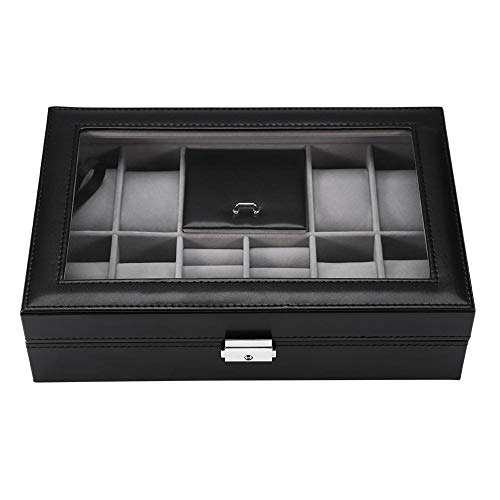 scatola portaoggetti per gioielli, portaoggetti rimovibile per gioielli o 8 scomparti multifunzione + vetrina porta orologi 2 griglie, portaoggetti per gioielli anello (nero)(uhr-schmuckschatulle)