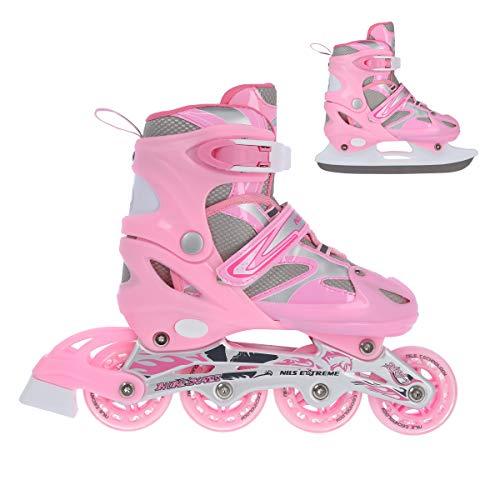 NILS 2in1 Inlineskates/Schlittschuhe Pink Flame Gr. 31-34, 35-38, 39-42 verstellbar ABEC7 (35-38 verstellbar)
