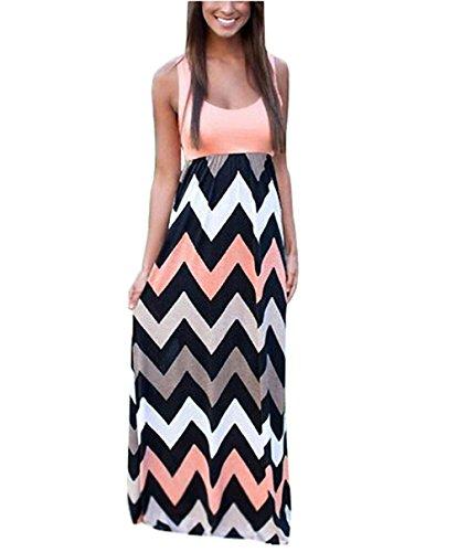 Yidarton Sommerkleid Damen Lang Chiffon High Waist Striped Sleeveless Beach Kleid Partykleid Elegant (X-Large, Rosa)