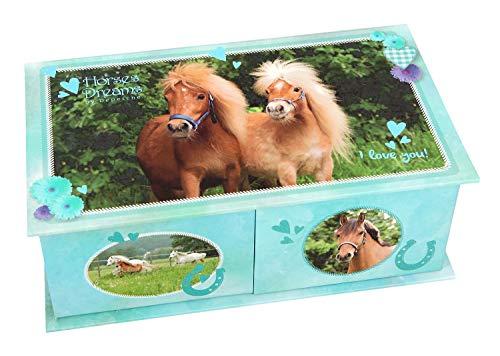 Depesche 10432 - Schmuckbox Horses Dreams, türkis