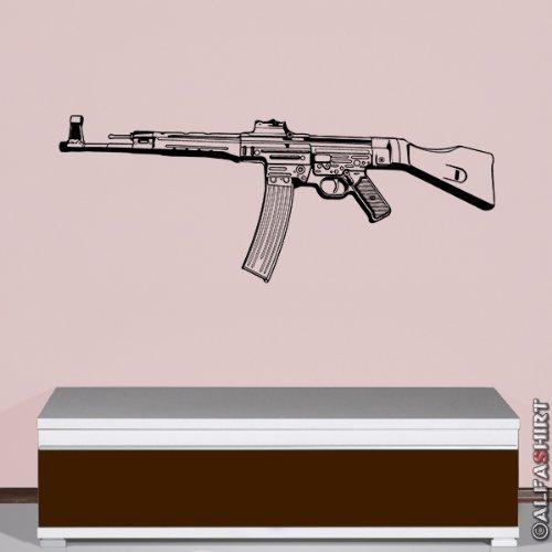Militär Stg 44 Sturmgewehr 44 Automatisch Wh Wk Waffe -Wandschmuck Wandtattoo Aufkleber (schwarz, 45cmx116cm) #5848