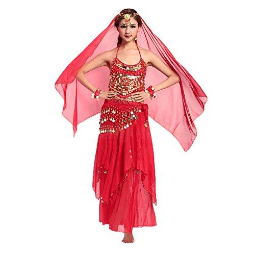 VENI MASEE Gaze Bauchtanz Kostüme Set - ein Sechs-Stück, Preis / Set - (Bauchtanz Rotes Kostüm)