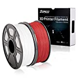 SUNLU 3D Printer Filament PLA+ 2KG (White+Red), 1.75mm PLA Filament, 3D Printing Filament Low Odor, Dimensional Accuracy +/- 0.02 mm, 2.2 LBS (1KG) Spool, 2KG Spools White Red PLA+