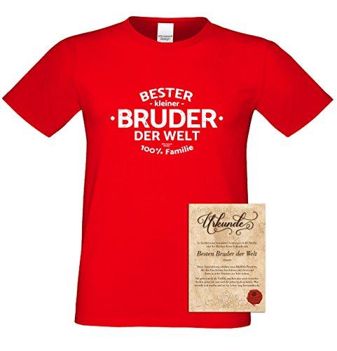 Geburtstagsgeschenk Bruder :-: Herren-Motiv T-Shirt mit Urkunde besten Bruder :-: Weihnachtsgeschenk :-: Bester Bruder der Welt :-: Geschenkidee für Männer auch Übergrößen 3XL 4XL 5XL rot-04