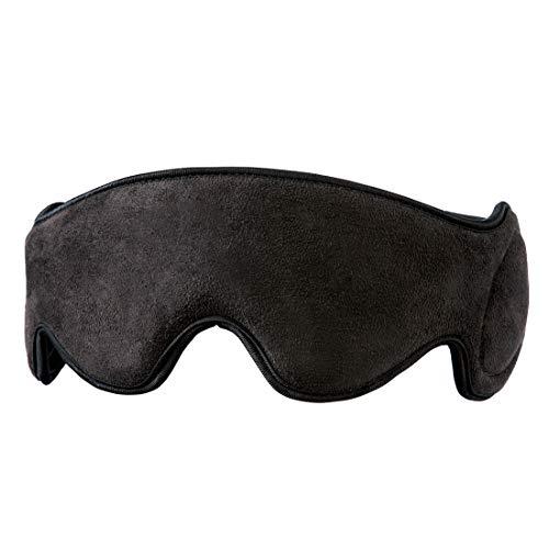 HoMedics Mobile Comfort Vibrierende Reise-Augenmaske mit Lautsprechern, Schlafmaske, Weichgepolstertes Gewebe, Lichtschutz, Aux-Anschluss, Tragbare Kompressionsschlaftherapie, Kopfhörer-Lautsprecher (Massage-lautsprecher)