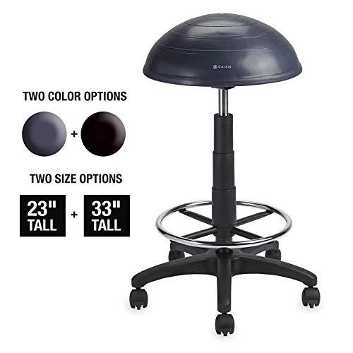 Gaiam Balance Ballstuhl, halb-kuppelförmig, Verstellbarer Drehstuhl für Steh- und Sitztische Schreibtische im Haus, Büro oder Klassenzimmer (Zufriedenheitsgarantie), Balance Ball, Granit, 33