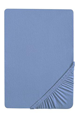 biberna 77144 Jersey-Stretch Spannbetttuch, nach Öko-Tex Standard 100, blau