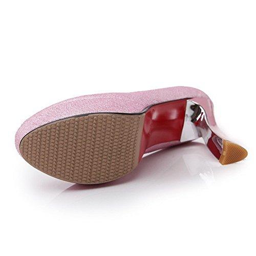 VogueZone009 Femme Pu Cuir à Talon Haut Couleur Unie Tire Fermeture D'Orteil Rond Chaussures Légeres Rose