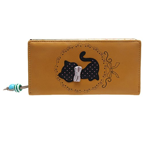BIGHUB Yellow : Malloom® Fashion New Women's Leisure Embroidery Long Purse Wallet Handbag