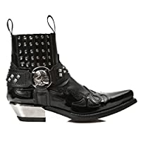 New Rock Newrock M.7950-S1 Black Ankle Boots Western Goth Strap Skull Stud Metal