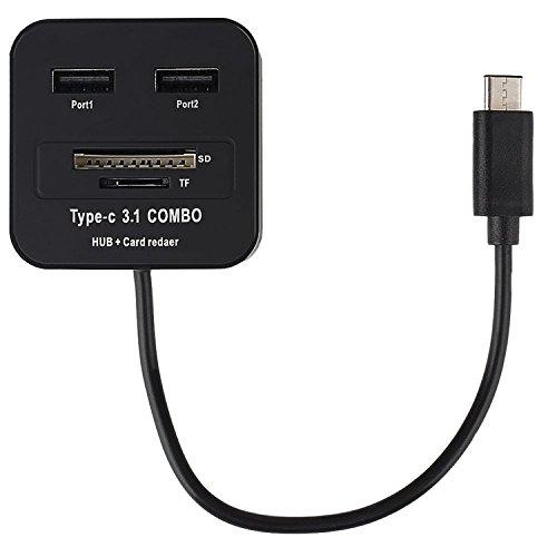 USB C HUB, TYPE-C 3.1 COMBO, inShang USB-C mit 2-Port USB-Hub mit SD / TF Card Reader Adapter für USB-Typ-C-Geräte, einschließlich das neue MacBook, Chromebook Pixel und mehr Card Reader black