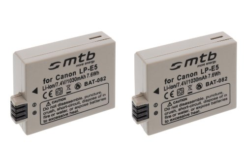 2x Batterie LP-E5 pour Canon EOS 450D, 500D, 1000D, Rebel T1i, Rebel XS, Rebel Xsi