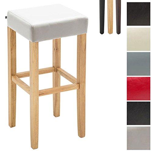 CLP Holz-Barhocker Judy mit hochwertiger Polsterung und Kunstlederbezug I Quadratischer Hocker mit Holzgestell und Fußstütze Holz Farbe Natura, Bezug Farbe weiß