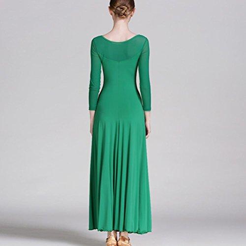 Wangmei Robe de Danse Moderne Pour Femme Valse Robe de Danse de Salon Engrener Épissure Manches longues Soie de glace vert