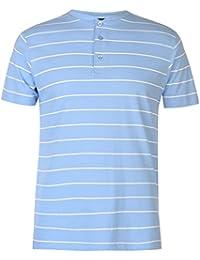 Pierre Cardin Mens Stripe Henley T Shirt Grandad Collar