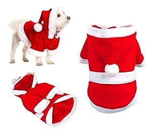 5679 Déguisement de PERE NOËL avec capuche pour chiens de petite/moyenne taille - XL