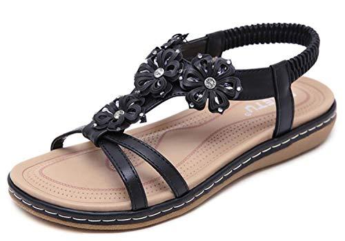 7384d1f9a Women Sandals Plus Size 36-42 Summer Women Shoes Sweet Flower Rhinestone  Ladies Flat Sandals