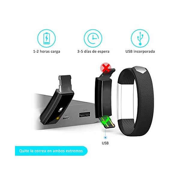 AIMIUVEI Pulsera Actividad Pulsera Inteligente Impermeable con 3 Correas Recambias, Reloj Inteligente Mujer y Hombre,Podómetro,Cronómetros,Despertador,Cámara Control,Compatible con iOS y Android 7