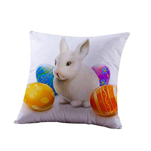 Ceally Ostern Baumwolle Kissenbezug Sofa Taille wurf Home Decor Mode Muster drucken Quadrat plüsch Kissen dekorativer kissenhülle leinen Kaninchen Printed kopfkissenbezug (L)