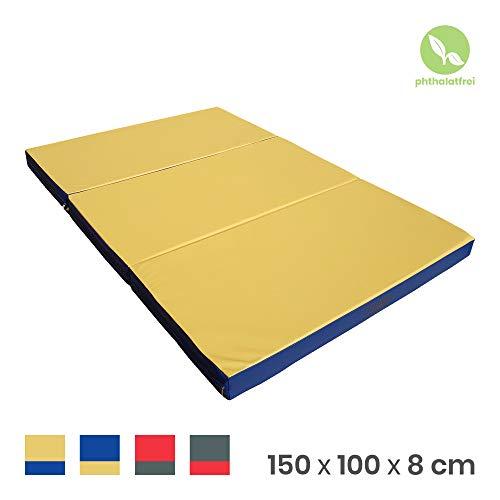 NiroSport Turnmatte 150 x 100 x 8 cm Gymnastikmatte Fitnessmatte Sportmatte Trainingsmatte Weichbodenmatte wasserdicht klappbar (Gelb/Blau)