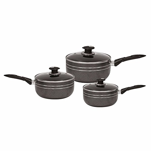 ASAB 3pc Non-Stick Saucepan Set Cooking Aluminium with Glass Lids - Kitchen Cookware Stove Hob Induction, Gas, Ceramic, Electric, Halogen- Black - 16/18/20cm
