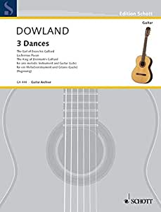 SCHOTT DOWLAND JOHN - THREE DANCES - VIOLIN (FLUTE/RECORDER) AND GUITAR Partition classique Cordes Violon