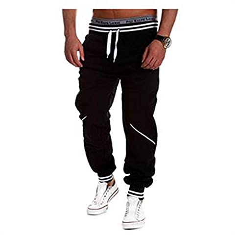Eleery Men's Fashion Hip Hop Long Baggy Pants Sweat Gym Sports Training Joggers Fitness Casual Rope Trousers