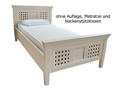 casamia Bett Einzelbett Massivholz New Quadro 100 x 200 cm Sondermodell Pinie massiv lipizano Farbe Pinie lipizano
