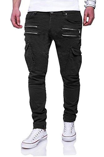 MT Styles Zipper Biker Jeans Slim Fit Hose RJ-3196 [Schwarz, W32/L32]