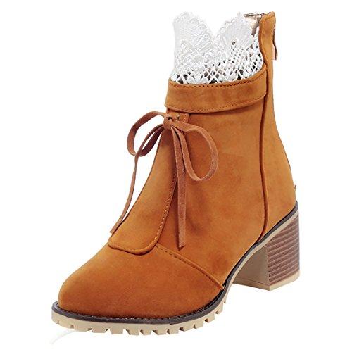 6 Cm Marrone Pizzo Punta E Tacco Donne Boots Caviglia Lacci Con Pelliccia Uh Arrotondata Calda wx8z46q6