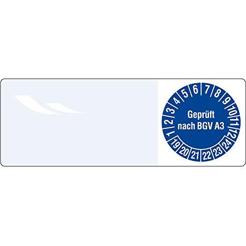 Labelident Prüfplaketten - Geprüft nach BGV A3, Kabelprüfplaketten, Zeitraum 2019-2024, 25 x 70 mm, 100 Stück, Vinylfolie blau, Aufdruck weiß -