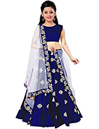 Leons Fab Girls Banglory Satin Simple Embroidered Semi Stitched Wedding Wear Lehenga Choli_(Suitable To 8-13 Year Girls) (Royal Blue)
