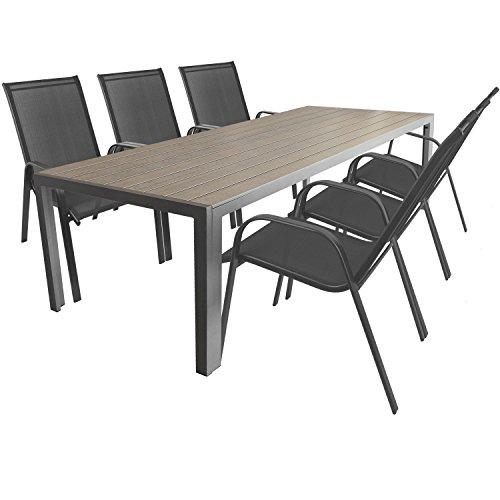 7tlg. Gartengarnitur Aluminium Gartentisch mit Polywood-Tischplatte 205x90cm + stapelbare Gartenstühle Stapelstühle mit Textilenbespannung Terrassenmöbel Sitzgarnitur Sitzgruppe Gartenmöbel