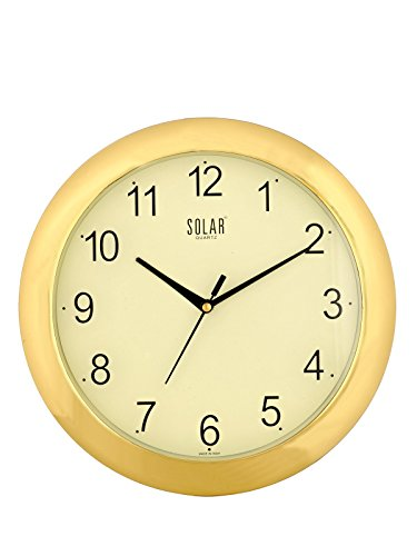 Solar Round Plastic Wall Clock (26 cm x 26 cm x 3...