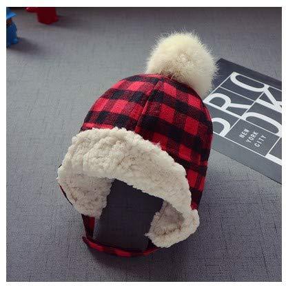 mlpnko Baby Mütze Jungen und Mädchen Ohrenschützer Kinder Wintermütze Gitter Lei Feng Mütze Plüsch Mütze warme Mütze rot (Eichel Kostüm)