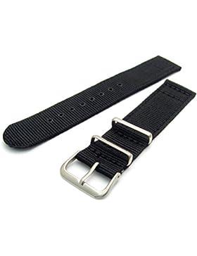 Robustes zweiteiliges Nylon-Gurtband, Uhrenarmband, Edelstahl-Schnalle und Befestigungselemente, 18mm, schwarz