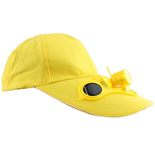 SunniMix 1 x Fan Cap solare Cappello Berretto Fan Hat Cap Berretto da Baseball Solare Solare con Mini Ventilatore Outdoor Sport Golf Hat Cotone, Plastica - Giallo, Taglia unica