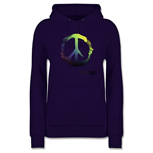 Statement Shirts - Frieden, bitte - Peace, please - Peacesymbol bunt - L - Lila - JH001F - Damen Hoodie (Lila Peace Hoodie)