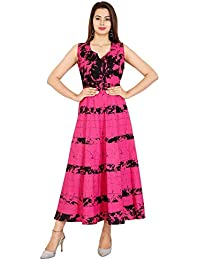 b7e343229 Rangun Cotton Women s Cotton Jaipuri Printed Maxi Long Dress (Free Size  Pink Color)