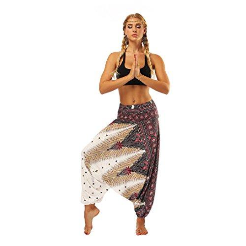 URSING Boho Unisexe Jambe Large Femmes Décontractée Été en Vrac Yoga Pantalon Bouffant Aladdin Combinaison Sarouel Lâche Body Pantalon de Yoga (Blanc - Pants, Taille Libre (60-90cm))