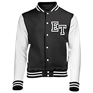 FRONT INITIAL STEP PERSONALISATION VARSITY JACKET ( XX LARGE - Jet Black / White ) NEW PREMIUM Unisex American Style Letterman College Baseball Custom Top Mens Womens Ladies Gift Present Quality AWD Soulstar Omega Bomber Personalise By Fonfella