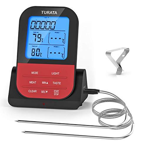 ZUZU Fleischthermometer, ferngesteuertes digitales drahtloses Speisethermometer mit Doppelsonde für Küchenraucher Grill-Thermometer,A