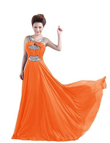 Dressystar Robe de soirée formelle/de Cérémonie Longue, Perlée, à Brosse/ Balayage/pinceau traîne, au drapé, en Mousseline Orange