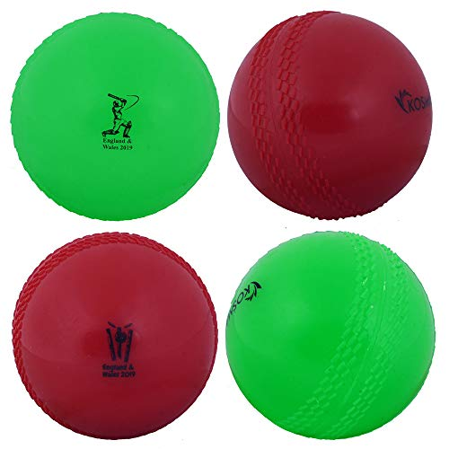 Kosma World Cup England & Wales 2019 Windball-Übungs-Cricketball | Weiche Trainingsbälle - 4er Pack - Farbe: 2 grün, 2 rot