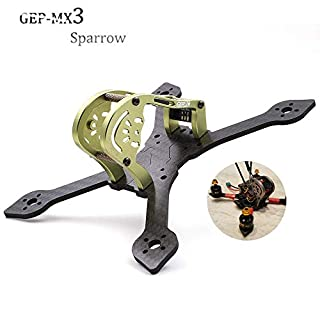 GEPRC GEP-MX3 Sparrow 139mm 3K Carbon Fiber FPV Frame True X-Type Mini FPV Racing Drone Quadcopter Frame Kit Green with RGB LEDs for Runcam micro swift