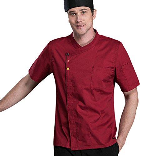 Dooxii Unisex Donna Uomo Estate Manica Corta Giacca da Chef Professionale Ristorante Occidentale Cucina Mensa Hotel Uniformi Divise da Cuoco Rosso M