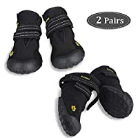 Zacro 4PCS Protective Dog Boots, Waterproof Shoes Outdoor Shoes for Medium to Large Dogs with Two Reflective Fastening Straps and Rugged Anti-Slip Sole, Black