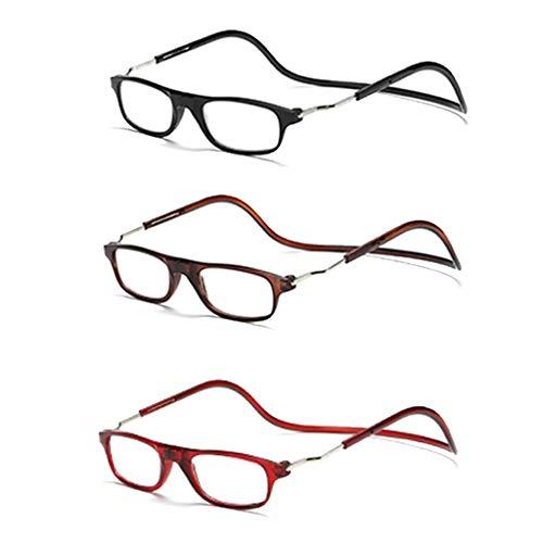 Axclg Reading glasses Eltern - 3 Lesebrillen Mit Magnetischem Frontanschluss, Tragbare Magnetische Nasenpads, Lesebrille Mit Harzlinsen