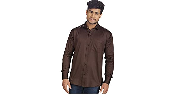 b3fa3723463 R.J. Fusion   Threads Brown Zara Linen Full Sleeves Formal Shirt   Amazon.in  Clothing   Accessories