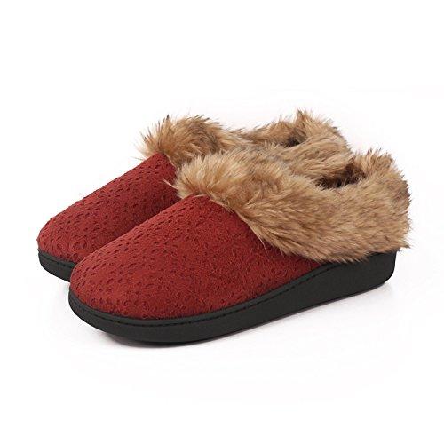 In autunno e inverno, Scarpe da casa, donne, cotone, morbido, comodo, caldo, Te, Felpa, suola spessa, antiscivolo Rosso